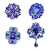 Ezing 4pcs Big Blue Crystal Silver Plated Brooch for Wedding Bouquet