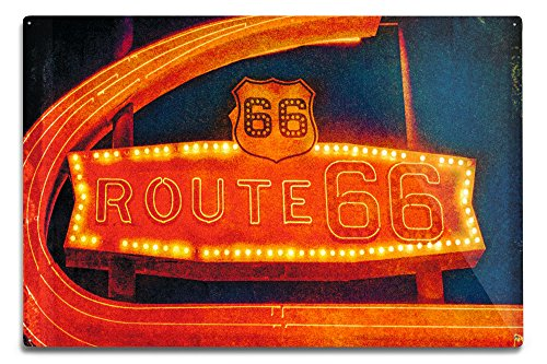 Lantern Press Route 66 Neon Sign (12x18 Aluminum Wall Sign, Wall Decor Ready to Hang)