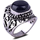 Charm Gift Antique Silver Plated Blue SandStone Ring Unisex Personality Jewelry LOVE STORY (8#)