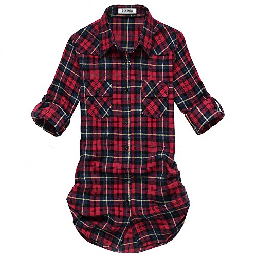 OCHENTA Women's Mid Long Style Roll Up Sleeve Plaid Flannel Shirt C050 Red Blue Label 2XL - US (Sleeve Western Plaid Shirt)