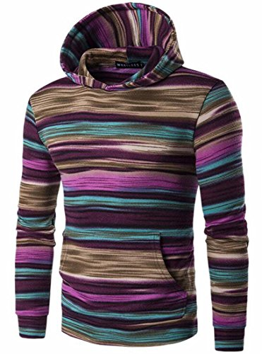 Long Pullover Hooded Stripe UK Sleeve Mens Red colorful Sweatshirt Casual today OqX7f