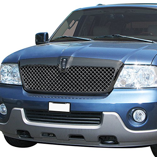 E-Autogrilles Glossy Black Strong ABS Replacement Mesh Grille Style Front Upper Bumper Grille for 03-06 Lincoln Navigator (41-0111B) (Lincoln Navigator Bumper Cover)