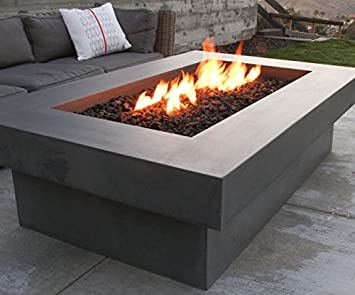 Delicieux Rectangle Concrete Fire Table, Fire Pit, Propane