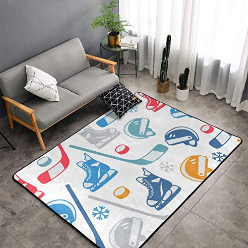 Bedroom Livingroom Sitting-Room Extra Large Area Rugs Home Art - Hockey Elements Creative Patterned Floor Mat Doormats Quick Dry Toilet Bath Rug Exercise Mat Throw Rugs Carpet