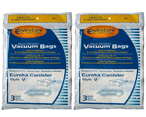 6 Eureka Allergy Style V Vacuum Bags, Power Team, Powerline, Canisters, World Vac, Home Cleaning System Vacuum Cleaners, 3800, 3900, 6700, 6800, 6865, 8000, 8200, 8900, 52358, 52358-12, 576898-12 (Filteraire), 54923-10, 6865 ()
