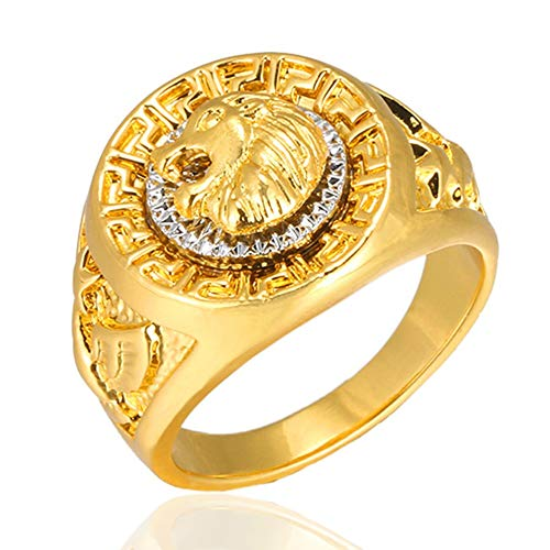 HarveyRudol85 Trendy Brand Lion-head Ring Hip Hop Style Golden Alloy Ring For Men Jewelry