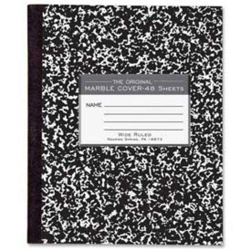 Roaring Spring Flex Cover Comp Book, 7'' x 8-1/2'', Wide Ruled, Black Marble, 48 Sheets/Pad (50 Books)