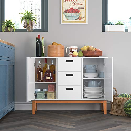 HOMECHO Console Storage Cabinet Sideboard for Bathroom or Kitchen to Organize Your Room Tidy Buffet Server Cupboard Table Modern Cabinet with 2 Side Doors and 3 Drawers, White
