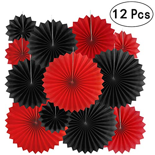 Casino Party Hanging Paper Fans Decorations - Viva Las Vegas Game Night Birthday Party Wedding Bridal Shower Carnival Party Ceiling Hangings Photo Booth Backdrops Decorations, 12pc]()