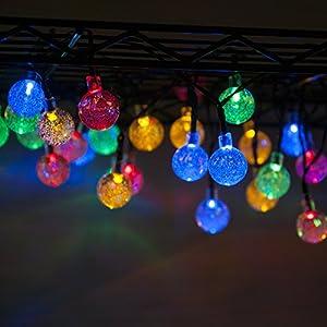 30 LED Guirlande lumineuse extérieur MAXAH 30 LED Guirlande lumineuse étanche une bonne décoration de nuit en dehors éclairage décoratif pour le sapin l'arbre la cour le jardin le chemin la grille également agréable pour le mariage l'anniversaire la soirée le camping la fête des Lumières Nöel etc Multi-couleur Ball