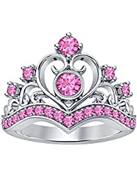 Round Cut Created Pink Sapphire 14K White Gold Plated Heart Design Crown Princess Engagement Wedding Ring