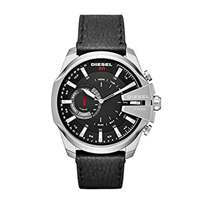 Diesel On Men's Mega Chief Stainless Steel and Leather Hybrid Smartwatch DZT1010, Color: Black by Diesel Watches