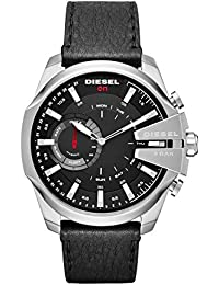 On Mens Mega Chief Stainless Steel and Leather Hybrid Smartwatch DZT1010, Color: Black