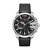Diesel On Men's Mega Chief Stainless Steel and Leather Hybrid Smartwatch DZT1010, Color: Black