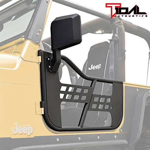 Tidal Safari Tubular Door Left Right with Mirror Pair for 97-06 Jeep Wrangler TJ