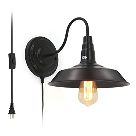 Shinbeam Wall Sconce Lighting E26 Black Retro Wall Lamp Indoor Hanging Wall Light Fixture Plug In Cord With On Off Switch Ideal For