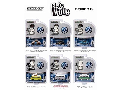 Volkswagen Club V-Dub Series 3, 6pc Diecast Car Set 1/64 Diecast Model Cars by GreenLight ()