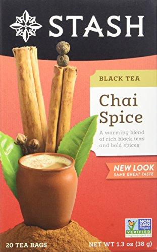 Stash Tea Chai Spice Black Tea, 20 Count Tea Bags in Foil (Pack of 6)