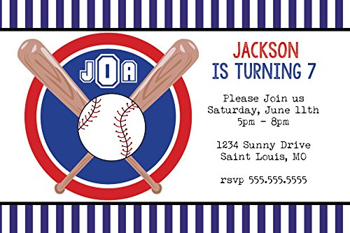 Customized - Monogram Baseball Birthday Party Invitation -