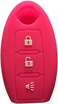 Pink silicone SMART Remote KEY cover case fit for NISSAN Murano 370Z 3 Buttons