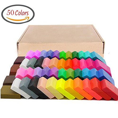 Maudre 50 Colors Polymer Clay, DIY Soft Molding Craft Oven Baking Clay Blocks Birthday Gift for Kids Adult (50 Colors with box)