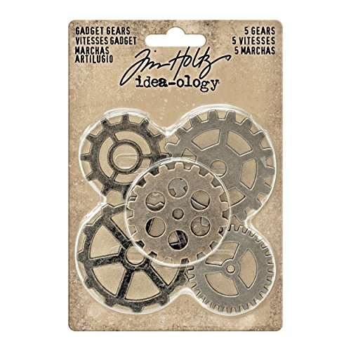 Antique Gears (Tim Holtz Idea-Ology Gadget Gears Embellishments 5/Pack, Antique Metal Finishes in Nickel, Brass, Copper (TH93297))