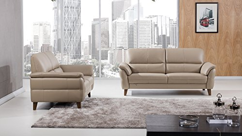 - American Eagle Furniture 2 Piece King Collection Complete Living Room Italian Leather Sofa Set, Tan