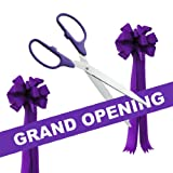 Grand Opening Kit - 36'' Purple/Silver Ceremonial Ribbon Cutting Scissors with 5 Yards of 6'' Purple Grand Opening Ribbon and 2 Purple Bows