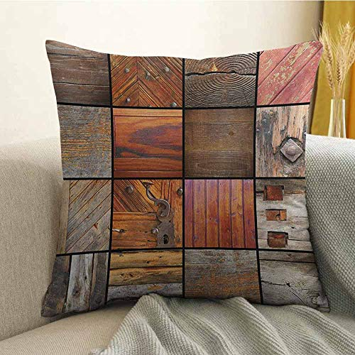 FreeKite Antique Pillowcase Hug Pillowcase Cushion Pillow Collection of Different Wooden Architecture Elements Timber Door Key Print Anti-Wrinkle Fading Anti-fouling W18 x L18 Inch Chocolate Brown