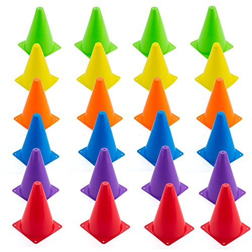 Faswin Indoor/Outdoor Agility Cones Sports Soccer Flexible Cone Sets, Assorted Colors, 24/Set