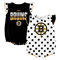 "NHL Boston Bruins Infant ""Polka Fan"" Creeper Set (2-Pack), 18 Months, Black"