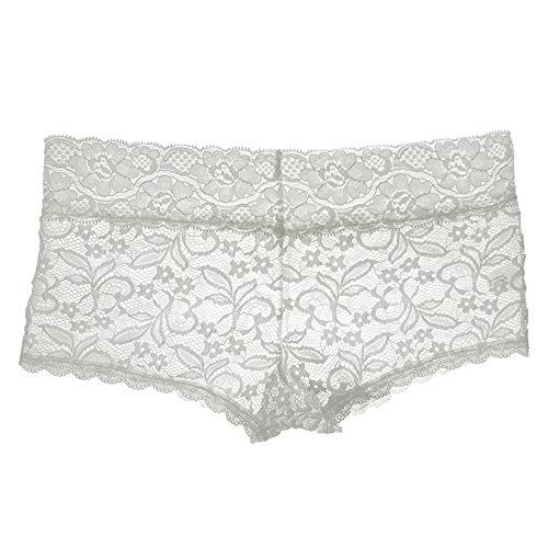 FRDMBeauty Sexy Lace Cheeky Boyshort Bikini Panties Floral Breathable Underwear Bridal Lingerie Women White