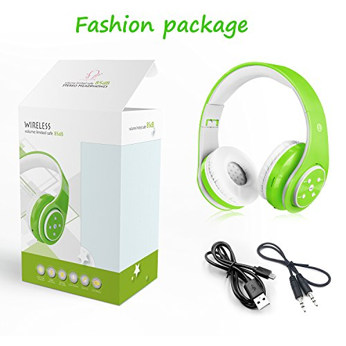 Kids Headphones Bluetooth Wireless 85db Volume Limited Childrens Headset, up to 6-8 Hours Play, Stereo Sound, SD Card Slot, Over-Ear and Build-in Mic Wireless/Wired Headphones for Boys Girls(Green)