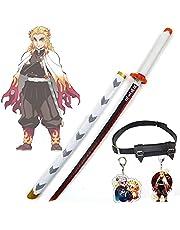 Demon Slayer Blade Rengoku Kyoujurou COS Houten Zwaarden Anime Lovers Cosplay Katana's Wapen Decoratieve Props Rengoku Zwaard Speelgoed voor Kinderen - met Zwaardriem & Sleutel Charm (80 cm)