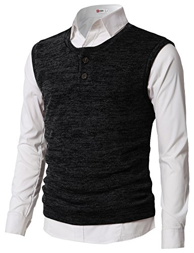 - H2H Mens Casual Slim Fit Two Button Down Henley Knitted Vest Pullover Black US M/Asia L (CMOV043)
