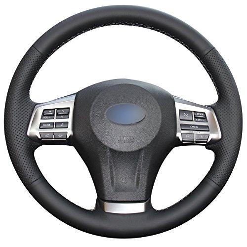 (Loncky Black Genuine Leather Auto Custom steering wheel covers for 2014-2016 Subaru Forester /2013-2015 Subaru XV Crosstrek /2012-2014 Subaru Legacy /2012-2015 Subaru Impreza /2012-2014 Subaru Outback)