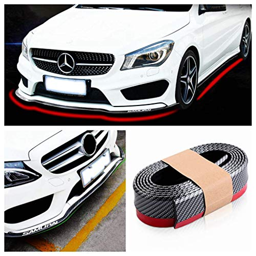 Bumper Protector, Front Bumper Lip, Front Lip & Side Skirt Protector, Front Lip Spoiler for Cars Trucks SUV - to Protect Cars from Collision (2.5m, Carbon Fiber Black) ()