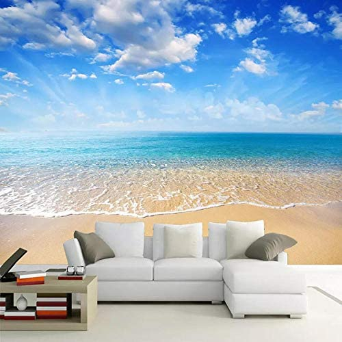 Ansyny 3D壁紙現代の海辺の風景写真壁の壁画リビングルームのテレビソファベッドルームのダイニングルームの家の装飾の壁紙-260X160CM