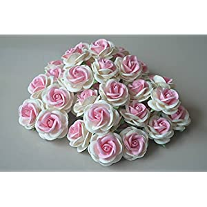 25 pcs BIG Rose Pink White color Mulberry Paper Flower 45mm scrapbooking wedding dollhouse supplies card 63