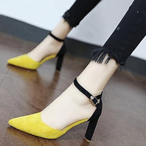 Xue Qiqi Escarpins Couture en satin, à fente pour chaussures élégantes chambres simples conseil simple avec de grosses chaussures à haut talon creux tide,39, noir