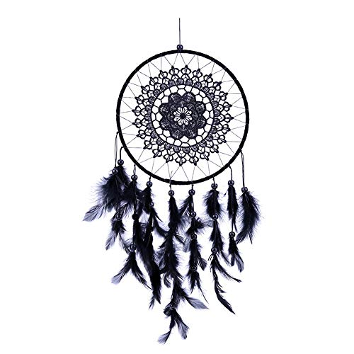 SeedWorld Wind Chimes & Hanging Decorations - Fringed Lace Dream Catcher Feather Black Blue White Feather Beads Dreamcatcher Car Wall Hanging Home Decoration Craft Gifts 1 -