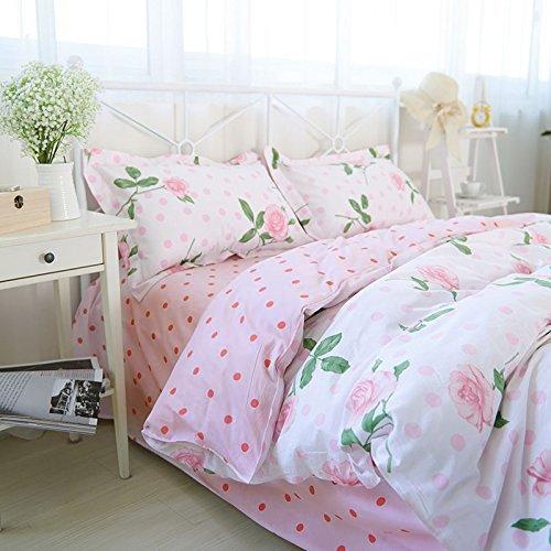 FADFAY Pink Polka Dot Bedding Vintage Rose Print Duvet Co...