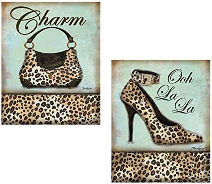 Set of 2 Leopard Animal Print Shoe Heel