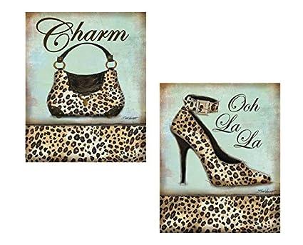 fae13140b7663 Set of 2 Leopard Animal Print Shoe Heel Pump Purse Cute Trendy Fashion  Accessories Cheetah Set Art Prints Posters 11x14 Inches