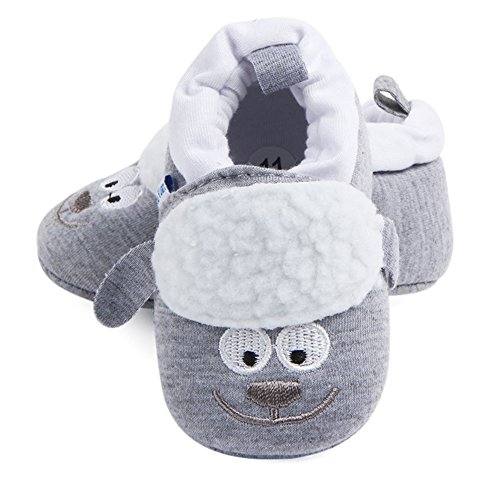 Baby Boys Girls Cute Cartoon Infant Warm Cotton Shoes Anti-Slip Soft Sole First Walkers Shoes (Grey Sheep, 6-11 Months)