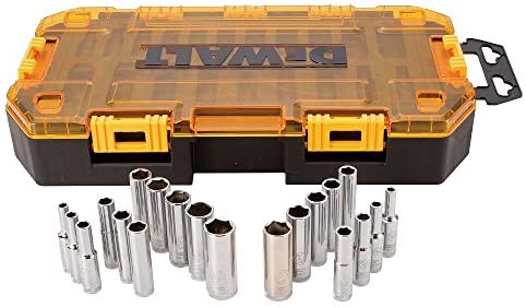 "DEWALT Deep Socket Set, 20-Piece, 1/4"" Drive Metric/SAE (DWMT73811)"