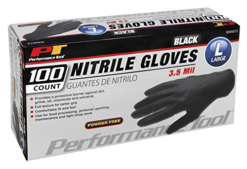 Performance Tool W89012 100pc Black Nitrile Gloves | Disposable, Powder Free, latex rubber free, Textured Fingertips for Better Grip - Large