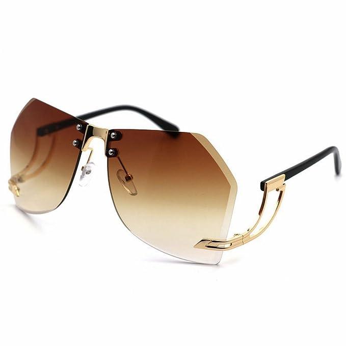 Getrimmte Rahmenlose Metall-Sonnenbrille Männliche Sonnenbrille Transparente Ozean-Film-Gläser Farbverlauf Blaue Linse Na34t1qDgo