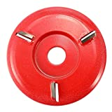Festnight Three Teeth Woodworking Turbo Tea Tray Digging Wood Carving Disc Tool Milling Cutter for 16mm Aperture Angle Grinder Red