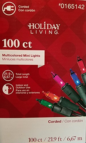 Holiday Living 100 Count Christmas Mini Lights, Multi Color, Indoor / Outdoor
